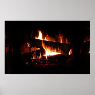 Poster Photographie chaude de scène d'hiver de cheminée