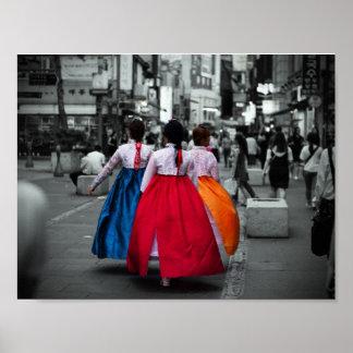Poster photographie coréenne de fille de tradional