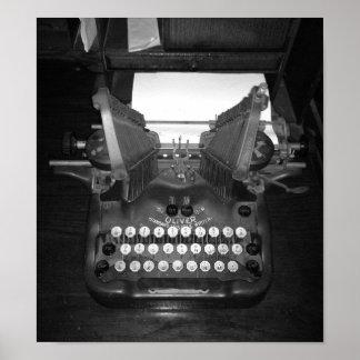 Poster Photographie vintage noire et blanche de machine à