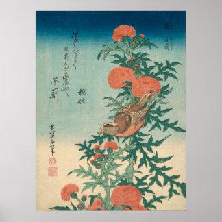 Poster Pie-grièche et chardon béni GalleryHD de Hokusai