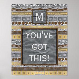 Poster Pièce mélangée de dortoir de monogramme en métal