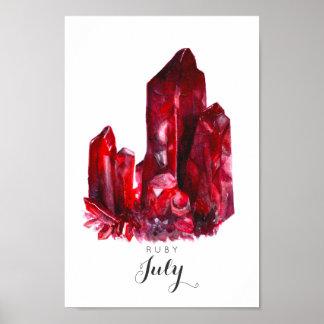 Poster Pierre porte-bonheur de juillet - affiche rouge de