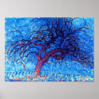 Poster Piet Mondrian - Avond (soirée) l'arbre rouge
