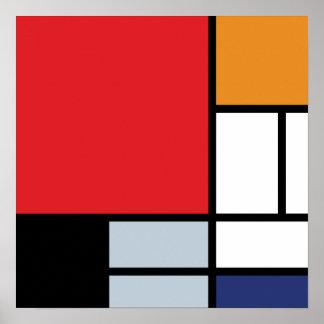 Poster Piet Mondrian - composition avec le grand avion