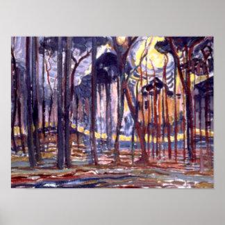 Poster Piet Mondrian peignant, forêt