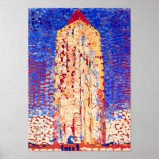 Poster Piet Mondrian - phare en beaux-arts de Westkapelle