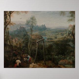 Poster Pieter Bruegel la pie d'Aîné-Le sur la potence