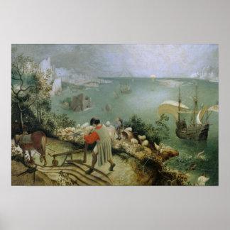Poster Pieter Bruegel l'aîné - automne de paysage d'Icare