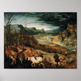 Poster Pieter Bruegel l'aîné - le retour du troupeau