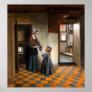 Poster Pieter de Hooch une femme avec un enfant dans un