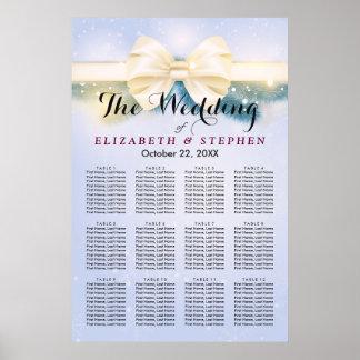Poster Pins bleus chics de ruban d'or épousant le