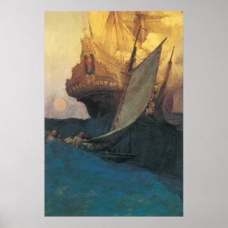 Poster Pirate vintage, attaque sur un galion par Howard