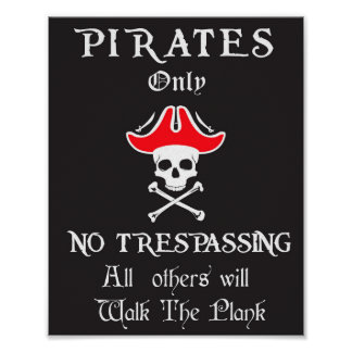 Poster Pirates seulement AUCUNE infraction