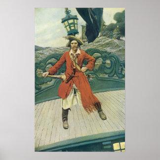 Poster Pirates vintages, capitaine Keitt par Howard Pyle