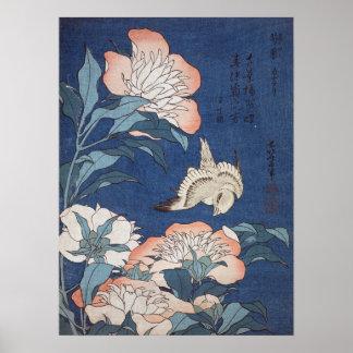 Poster Pivoines et canari de Katsushika Hokusai