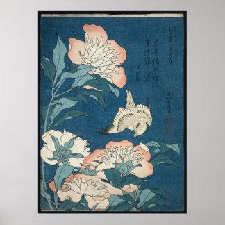 Poster Pivoines et canari par Katsushika Hokusai 1834