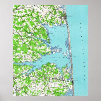 Poster Plage de Rehoboth et plage Delaware Map (1938) de
