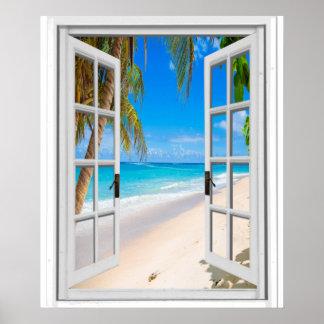 Poster Plage et fenêtre de Faux de vue d'océan
