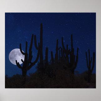 Poster Pleine lune se levant dans Tucson