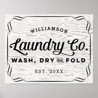 Poster Pli sec personnalisé de lavage de blanchisserie