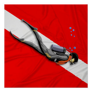 Poster Plongeur et drapeau de piqué