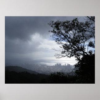 Poster Pluie au-dessus de Honolulu