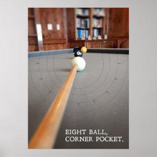 Poster Poche faisante le coin de huit boules