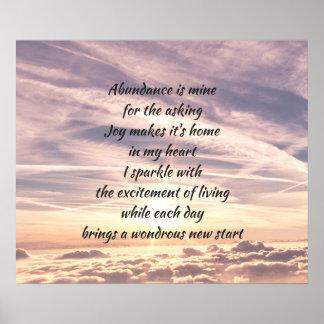 Poster Poème d'affirmation d'abondance