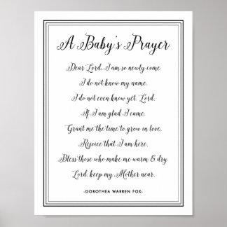 Poster Poème de la prière d'un bébé - couleurs de crèche