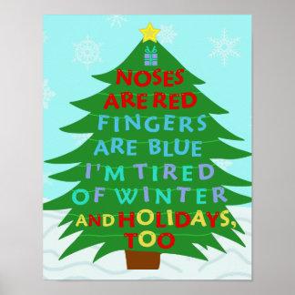 Poster Poème fumiste drôle de Noël de Bah
