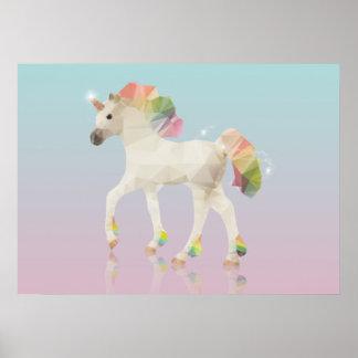 Poster Polygone coloré de licorne d'arc-en-ciel - copie