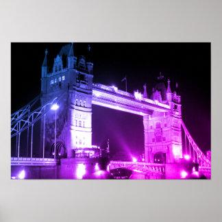 Poster Pont bleu de tour de Londres de nuit