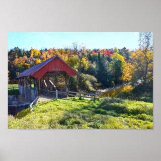 Poster Pont couvert de Randall en automne, Vermont