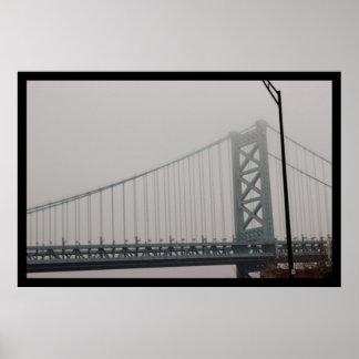Poster Pont de Ben Franklin sous le brouillard