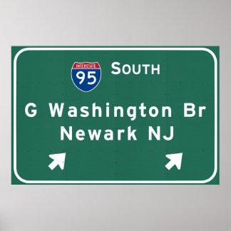 Poster Pont de George Washington I-95 d'un état à un