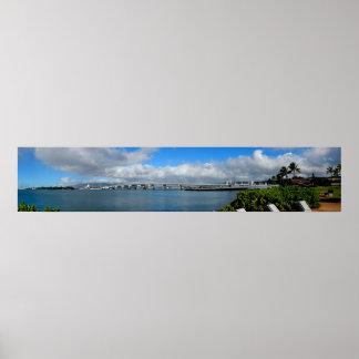 Poster Pont d'île, Pearl Harbor, affiche d'Hawaï