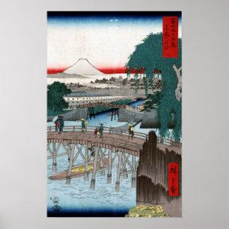 Poster Pont d'Utagawa Hiroshige Ichikobu