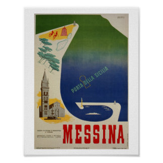 Poster Port de Messine d'annonce italienne vintage de