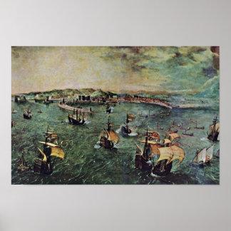 Poster Port de Naples par Bruegel D. Ä. Pieter