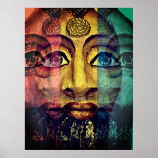 Poster Portrait égyptien psychédélique utopique