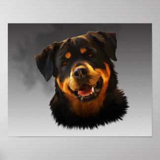 Poster Portrait mignon d'art de couleur d'eau de chien de