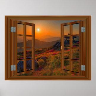 Poster Position coréenne de fenêtre de Faux de temple