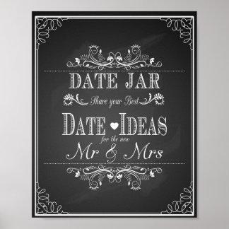 Poster Pot de date de signe de mariage
