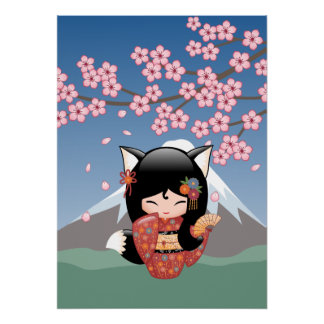 Poster Poupée de Kitsune Kokeshi - fille de geisha de Fox