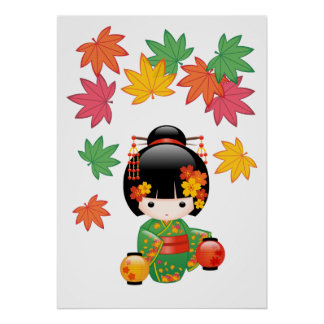 Poster Poupée de Kokeshi de chute - fille de geisha verte