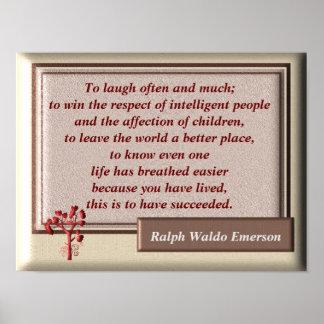 Poster Pour rire souvent et beaucoup - citation d'Emerson