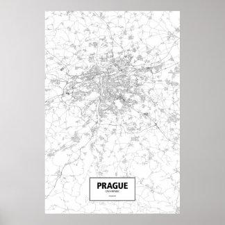 Poster Prague, République Tchèque (noir sur le blanc)