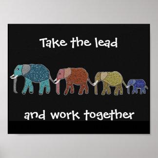 Poster Prenez aux éléphants d'avance l'affiche de motivat