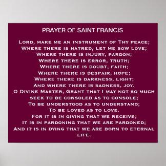 Poster Prière d'affiche de Francis de saint