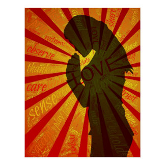 Poster Priez, méditez, affiche puissante d'habilitation